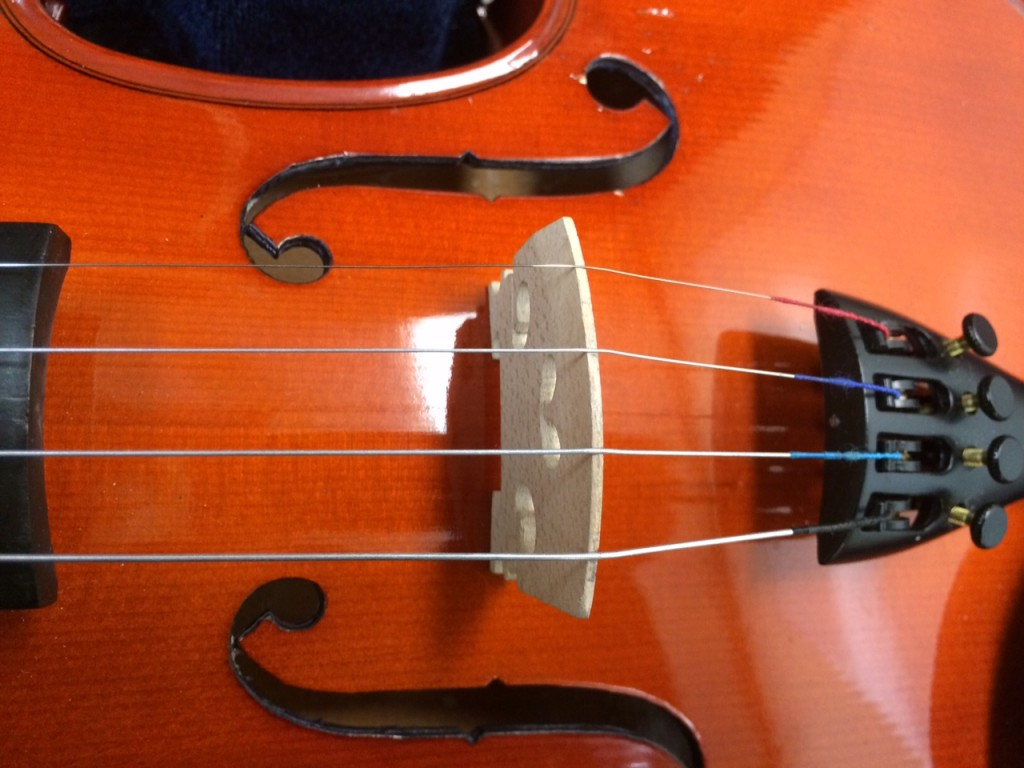 All stings in violin bridge